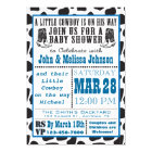 Blue Cowboy Cowprint Baby Shower invitations