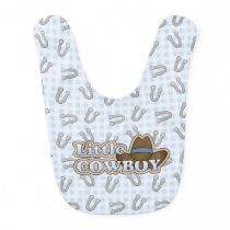 Blue Cowboy Horseshoes Baby Bib
