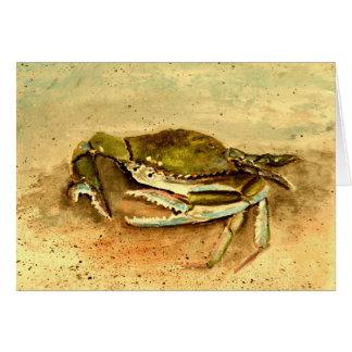 blue crab acrylic painting sea marine life card