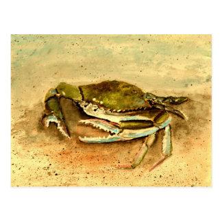 blue crab acrylic painting sea marine life postcard