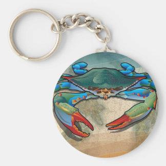 Blue Crab Basic Round Button Keychain