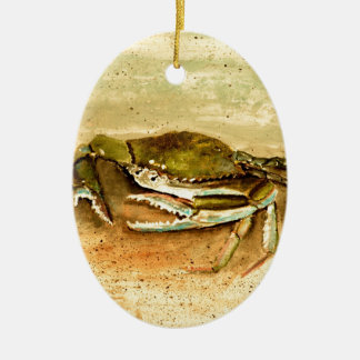 Blue crab beach crabs art gifts ceramic ornament