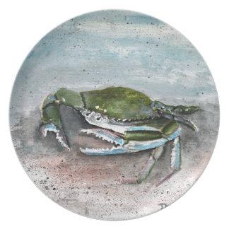 Blue crab beach crabs art gifts plate