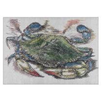 Blue Crab Decorative Glass Cutting Board