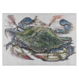 Blue Crab Decorative Glass Cutting Board