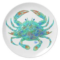 Blue Crab Dinner Plate