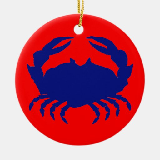 Blue Crab Double-Sided Ceramic Round Christmas Ornament