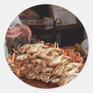 Blue Crab Feast Round Sticker