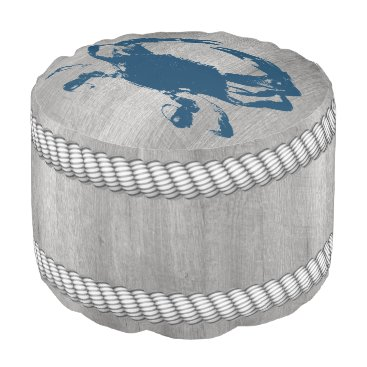 Beach Themed Blue Crab Grey Dock Wood Ropes Pouf