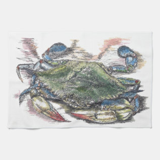 Blue Crab Kitchen Towel at Zazzle