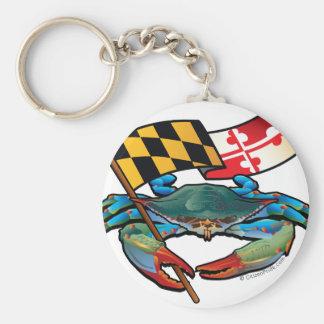 Blue Crab Maryland flag Keychain