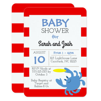Blue Crab Nautical Baby Shower Invitation