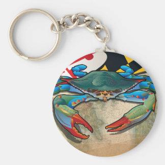 Blue Crab of Maryland Basic Round Button Keychain
