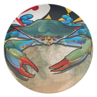 Blue Crab of Maryland Melamine Plate