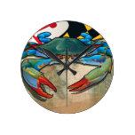 Blue Crab of Maryland Round Wallclock