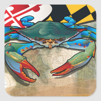 Blue Crab of Maryland Square Sticker