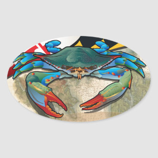 Blue Crab of Maryland Oval Sticker
