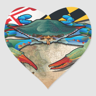 Blue Crab of Maryland Heart Sticker