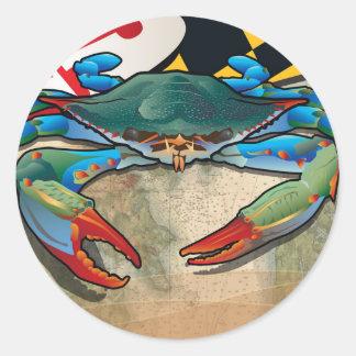 Blue Crab of Maryland Classic Round Sticker