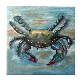 Blue Crab on Blue Ceramic Tile