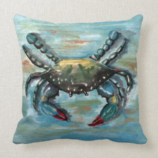 Blue Crab on Blue Pillow