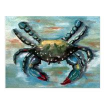 Blue Crab on Blue Postcard