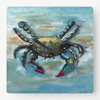 Blue Crab on Blue Square Wall Clock