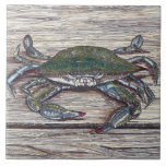 """Blue Crab on Dock Ceramic Photo Tile<br><div class=""""desc"""">The Blue Crab on Dock image was created using pen and ink and colored pencil.</div>"""