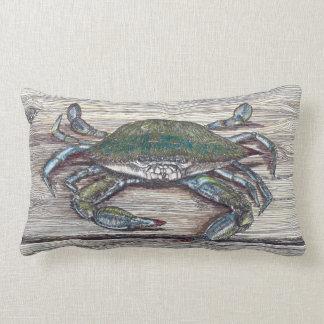 Blue Crab on Dock Lumbar Throw Pillow