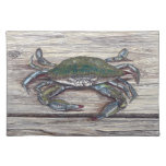 Blue Crab on Dock Placemat Cloth Place Mat