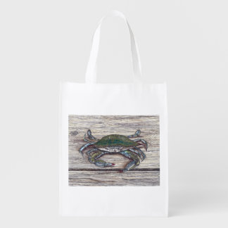 Blue Crab on Dock Reusable Grocery Bag