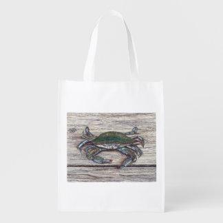 Blue Crab on Dock Reusable Grocery Bag