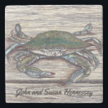"Blue Crab on Dock Stone Coaster<br><div class=""desc"">The &quot;Blue Crab on Dock&quot; image was created with pen and ink and colored pencil</div>"