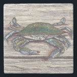 "Blue Crab on Dock Stone Coaster<br><div class=""desc"">The Blue Crab on Dock image was created using pen and ink and colored pencil.</div>"