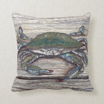 Blue Crab on Dock Throw Pillow