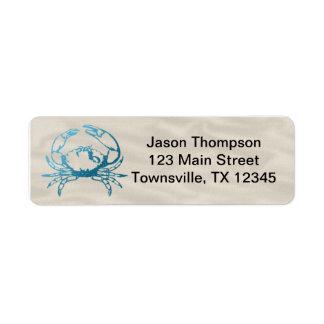 Blue Crab on Linen Label