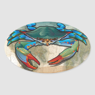 Blue Crab Oval Sticker
