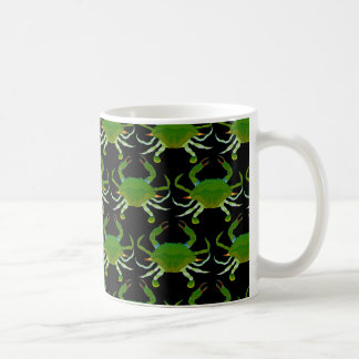 Blue Crab pattern in black Coffee Mug