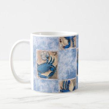 Coffee Themed Blue Crab Pattern Mug
