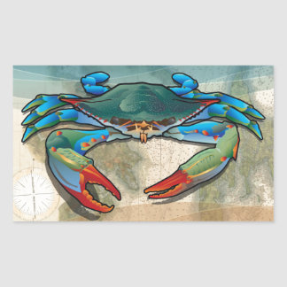 Blue Crab Rectangular Sticker