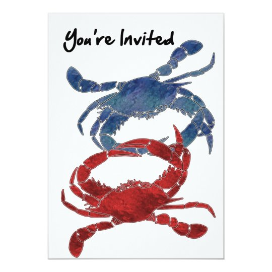 Blue Crab Red Crab Crab You're Invited Card