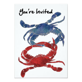 Blue Crab Red Crab Crab You're Invited 5x7 Paper Invitation Card