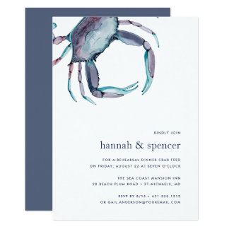 Blue Crab Rehearsal Dinner Invitation