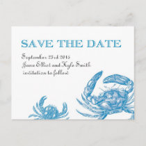 Blue Crab Save the Date Announcement Postcard