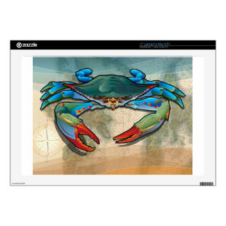 "Blue Crab Skin For 17"" Laptop"