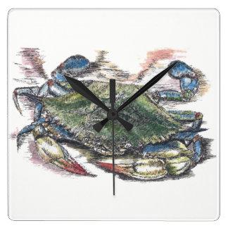 Blue Crab Square Wall Clock