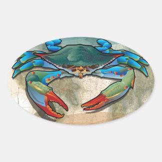 Blue Crab Oval Sticker