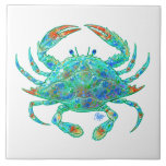 "Blue Crab Tile<br><div class=""desc"">Straight from the bayou or the bay this colorful blue crab can decorate your table. Artwork copyright Tim Phelps</div>"