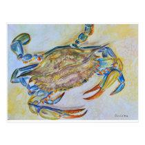 Blue Crab Watercolor Postcard