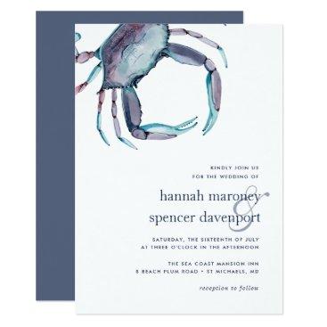 Beach Themed Blue Crab Wedding Invitation